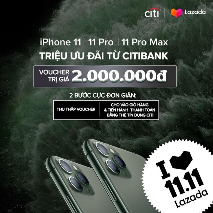 Giảm 2 triệu đồng cho iPhone 11 trên Lazada chỉ trong ngày 11/11