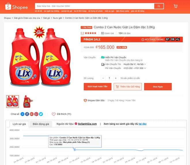 Giá thật chỉ giảm 5.000 đồng nhưng sàn thương mại điện tử vẫn ghi 51% giảm cho combo 2 can nước giặt Lix.