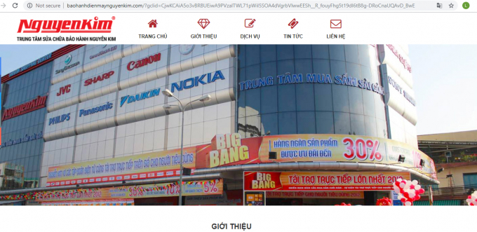 Một website giả mạo siêu thị điện máy Nguyễn Kim từ địa chỉ website giống đến cả hình ảnh.