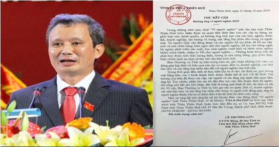 Ông Lê Trường Lưu viết tâm thư kêu gọi ủng hộ dân nghèo thuộc dự án di dời dân tại Kinh thành Huế