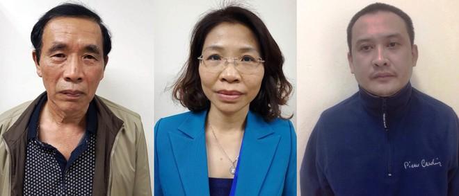 Từ trái sang: Nguyễn Tiến Học, Phạm Thị Kim Tuyến và Lê Duy Tuấn. Ảnh: Bộ Công an.