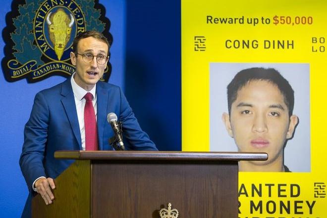 Giám đốc chương trình BOLO Maxime Langlois thông báo phối hợp cùng cảnh sát British Columbia truy nã Cong Dinh. Ảnh: PNG.