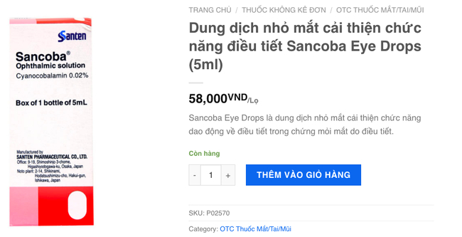 Một website dược phẩm bán Sancoba nhập khẩu chính hãng cũng mô tả y hệt web Nhật.