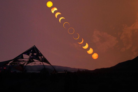 Quá trình diễn ra nhật thực hình khuyên tại Pyramid Lake, Nevada, Mỹ vào tháng 5/2012. Ảnh: KOH JOO BENG
