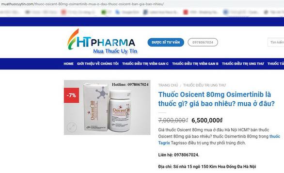 Thuốc điều trị ung thư được bán tràn lan trên mạng.