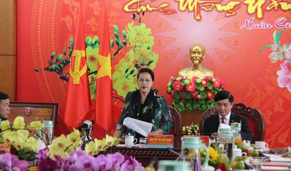 Chủ tịch Quốc hội phát biểu tại buổi làm việc.