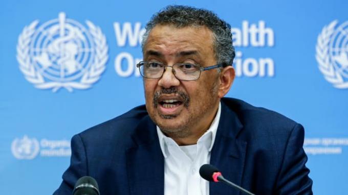 Tổng giám đốc Tổ chức Y tế Thế giới (WHO) Tedros Adhanom Ghebreyesus trong buổi họp báo ngày 22-1 về dịch viêm phổi do virus corona mới. Ảnh: AFP