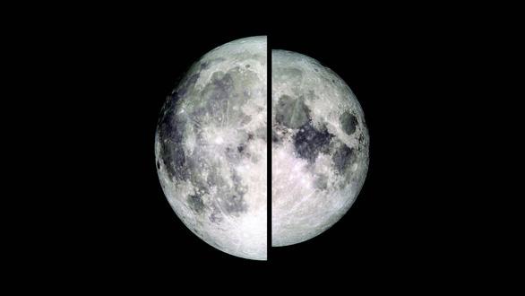 Mặt trăng nhìn từ Trái đất trong hiện tượng siêu trăng (trái) và khi bình thường (phải)