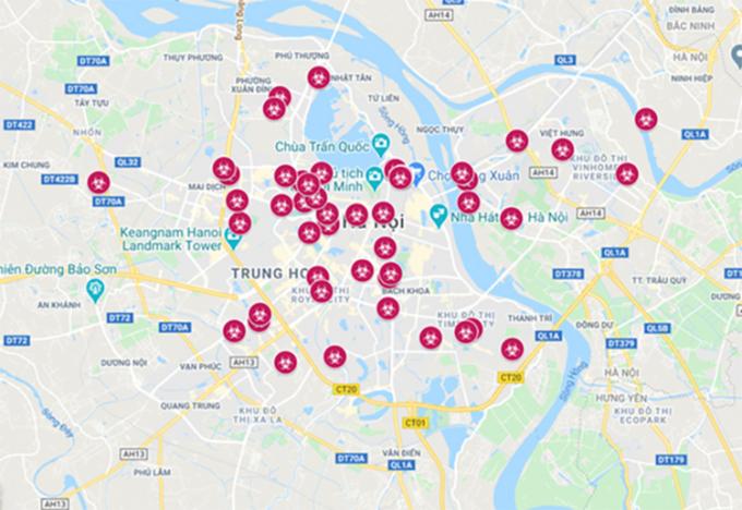 Bản đồ về Covid-19 ở Hà Nội bị công an xác định là không chính xác.