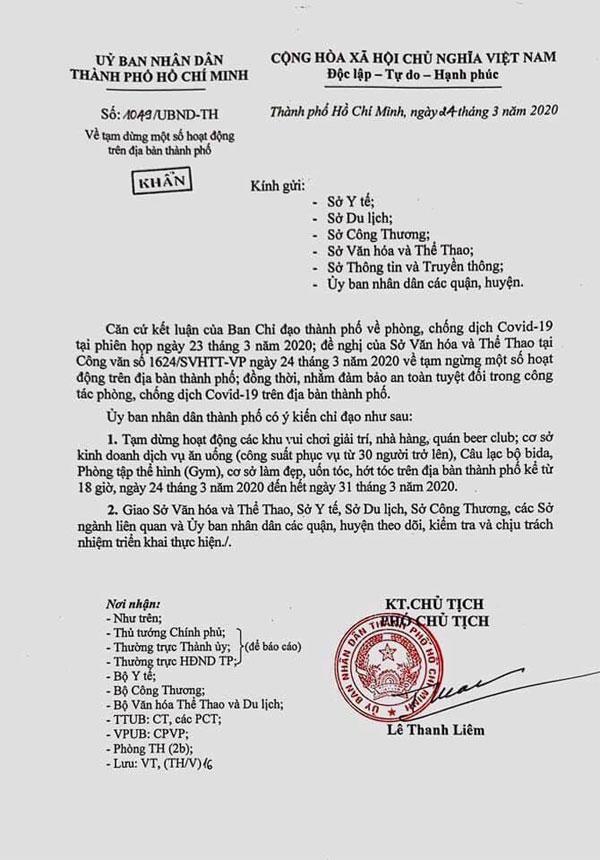 Công văn yêu cầu tạm dừng các hoạt động của nhà hàng, quán nhậu tại TP.HCM