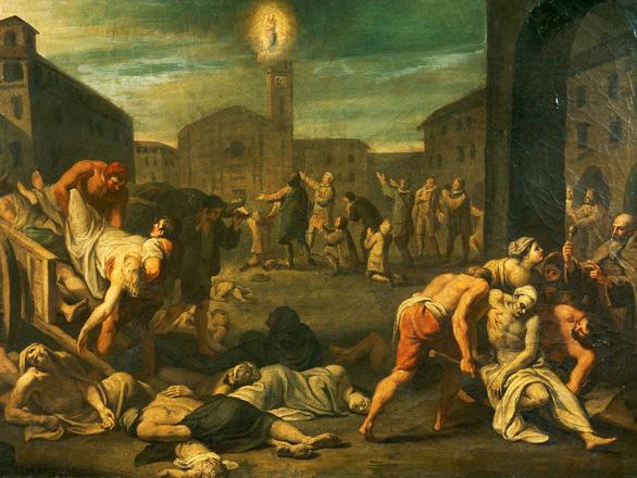Bức tranh miêu tả đại dịch trong bảo tàng Storico Nazionale Dell'Arte Sanitaria tại Rome (Ý) - Ảnh: DE AGOSTINI / GETTY