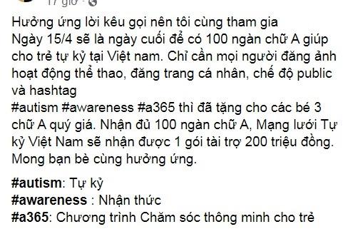 Chiến dịch thu thập 100.000 chữ A để dành gói hỗ trợ 200 triệu đồng, giúp đỡ trẻ em Việt bị tự kỷ.