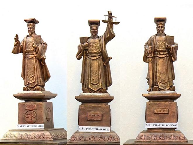 3 mẫu phác thảo tượng Lý Thái Tông.