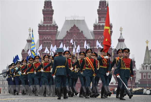 Lễ diễu binh nhân kỉ niệm Ngày Chiến thắng tại Quảng trường Đỏ ở thủ đô Moskva, Nga ngày 9/5/2019. (Ảnh: AFP/TTXVN)