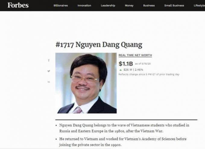 Ông Nguyễn Đăng Quang trở lại danh sách tỷ phú USD của Forbes.