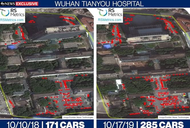 Ảnh vệ tinh cho thấy thay đổi về số lượng xe trong bãi đỗ của bệnh viện Tianyou ở Vũ Hán