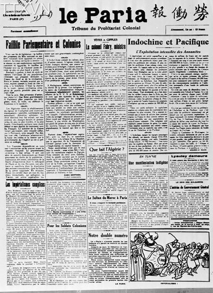 Năm 1921, để tập hợp các lực lượng cùng chí hướng, Nguyễn Ái Quốc cùng một số đồng chí châu Á có mặt ở Paris sáng lập Hội Liên hiệp thuộc địa, Hội ra tờ báo 'Người cùng khổ' làm cơ quan ngôn luận của Hội. Nguyễn Ái Quốc vừa là chủ bút, vừa là phóng viên, vừa là người biên tập chính. Báo 'Người cùng khổ,' cơ quan ngôn luận của vô sản thuộc địa do Người sáng lập, làm chủ bút kiêm chủ nhiệm, phát hành trong những năm 1922 đến năm 1924, từ Paris kêu gọi và tổ chức các dân tộc bị áp bức vùng lên giải phóng. Ảnh: Tư liệu/TTXVN)