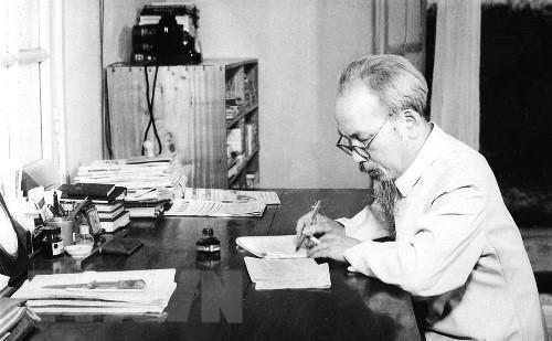 Chủ tịch Hồ Chí Minh - Người thầy vĩ đại của những người làm báo cách mạng Việt Nam. (Ảnh: Tư liệu TTXVN)