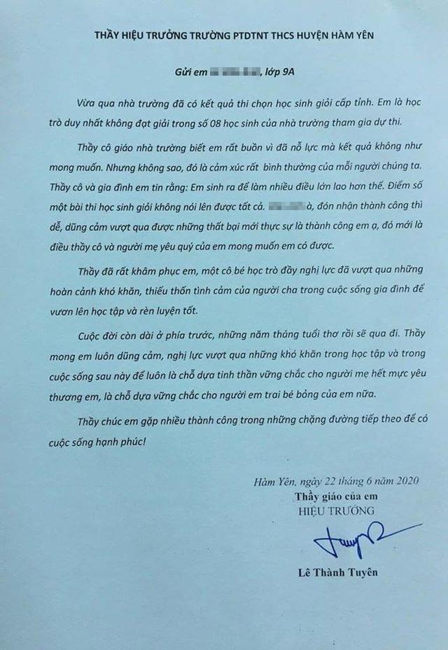 Bức thư của thầyHiệu trưởngLê Thành Tuyên gửi em L.V.A.