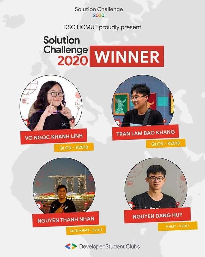 Nhóm 4 sinh viên trường Đại học Bách khoa chiến thắng giải Solution Challenge 2020.