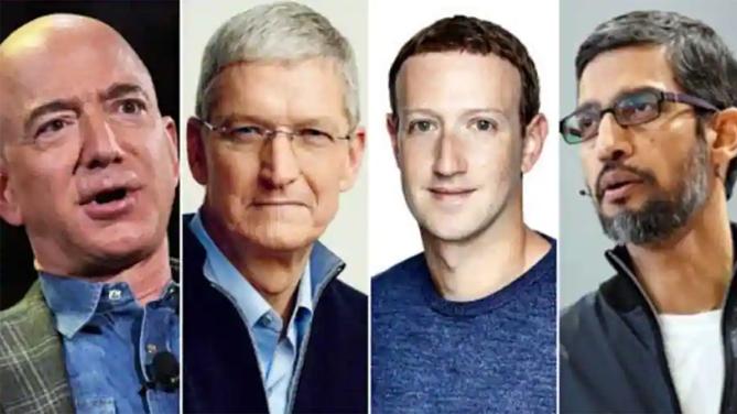 Bốn CEO của bốn hãng công nghệ cùng ra điều trần tại Mỹ vào cuối tháng 7. Ảnh: Wion.