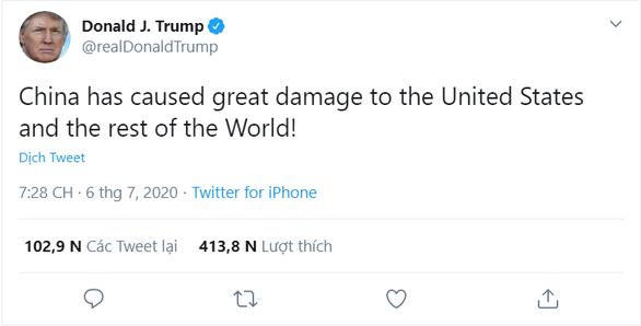 Ông Trump chỉ trích Trung Quốc và buộc nước này phải chịu trách nhiệm cho các thiệt hại vì Covid-19 - Ảnh chụp màn hình