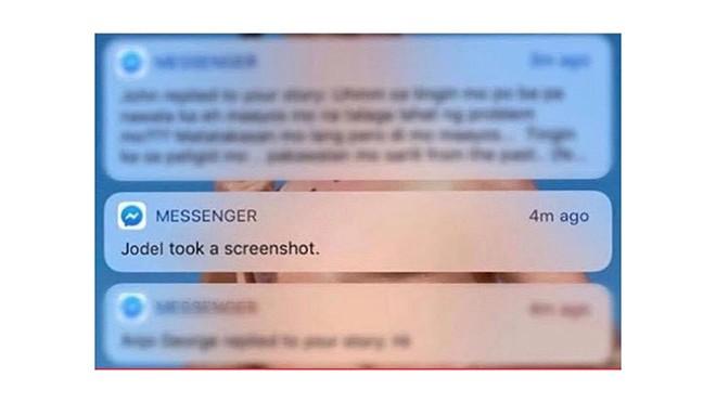 Thông báo được gửi từ Facebook cho thấy ai đó đang chụp màn hình.