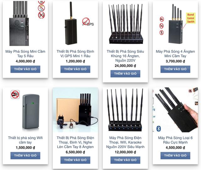 Một website rao bán hàng chục loại máy phá sóng loa kéo karaoke, sóng Wi-Fi, định vị GPS...