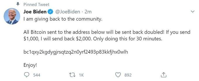 Dòng tweet lừa đảo đăng trên tài khoản của ứng viên tổng thống đảng Dân chủ Joe Biden. Ảnh chụp màn hình.