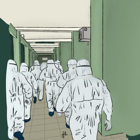 Bức vẽ hình ảnh các y bác sĩ từ Bạch Mai và Chợ Rẫy đến hỗ trợ Đà Nẵng chống dịch.