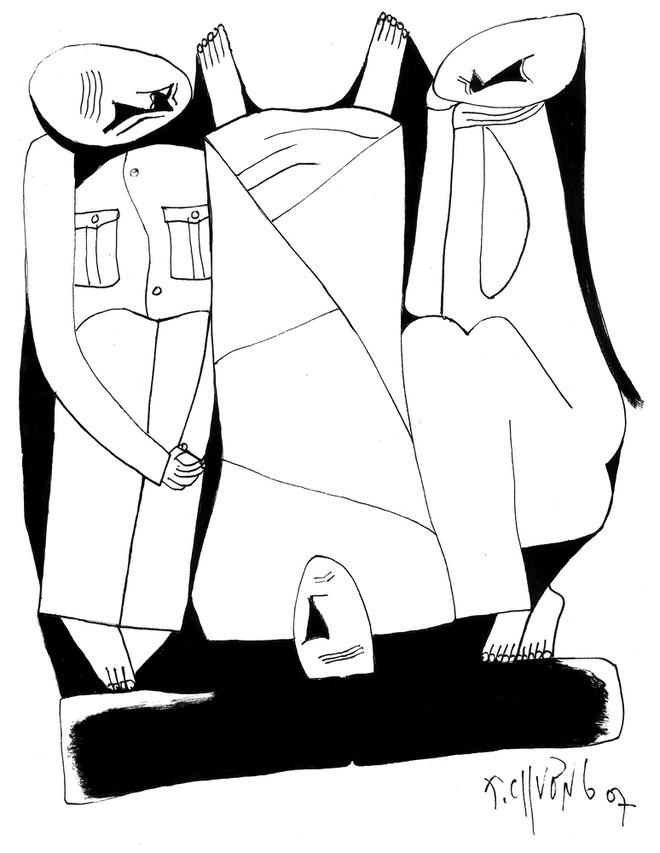 Nhắc đến nhà văn Nguyễn Huy Thiệp chắc chắn phải nói đến tác phẩm Tướng về hưu, đây là tác phẩm có vị trí quan trọng trong sự nghiệp sáng tác của ông. Trong ảnh là tranh minh họa truyệnTướng về hưucủa họa sĩ Thành Chương.