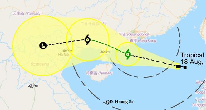 Dự báo đường đi của áp thấp nhiệt đới trên Biển Đông trong những giờ tới. Ảnh: HKO.