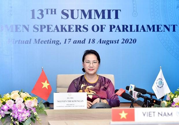 Chủ tịch Quốc hội Nguyễn Thị Kim Ngân tại Hội nghị trực tuyến các Nữ Chủ tịch Quốc hội thế giới lần thứ 13. (Ảnh: Trọng Đức/TTXVN)