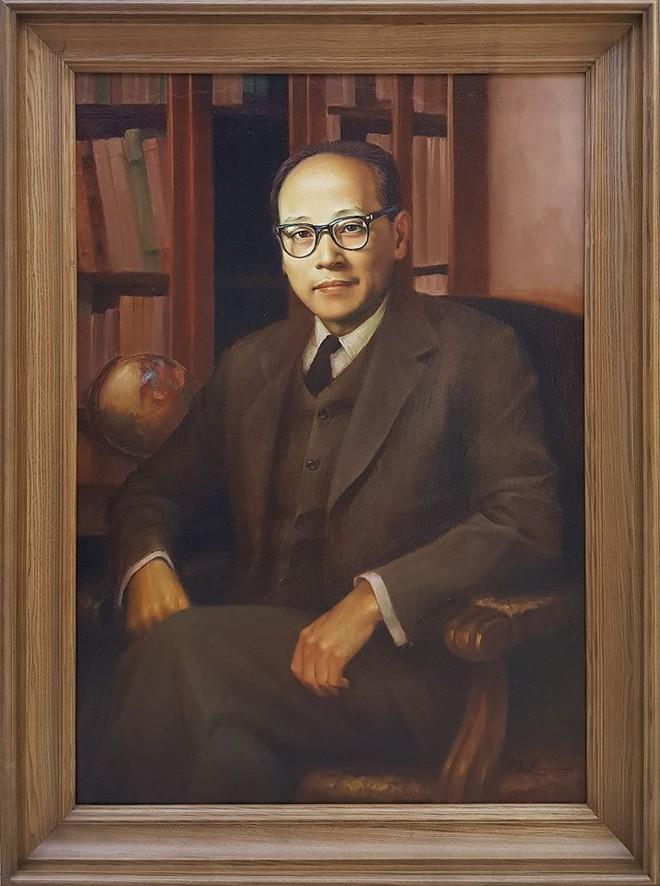 Tranh chân dung cố Bộ trưởng Ngoại giao Hoàng Minh Giám (họa sĩ Lê Thế Anh).