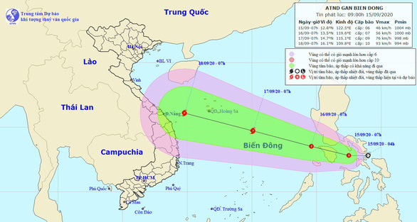 Sơ đồ đường đi áp thấp nhiệt đới - Ảnh: Trung tâm dự báo khí tượng thủy văn quốc gia