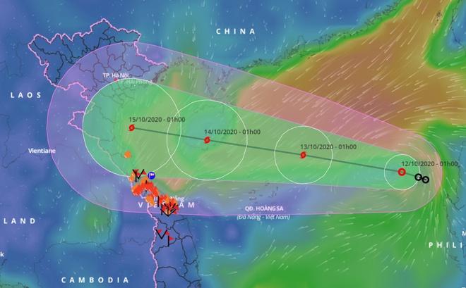 Đường đi của áp thấp nhiệt đới, dự kiến mạnh lên thành bão số 7.
