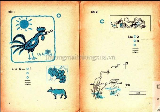 Những trang sách Tiếng Việt lớp 1 gần gũi, dễ nhớ của 30 năm trước. Ảnh: Thuongmaitruongxua.