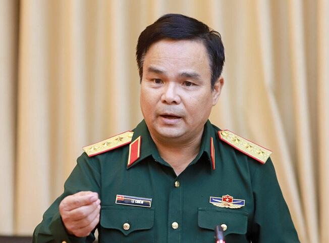 Thượng tướng Lê Chiêm - Thứ trưởng Bộ Quốc phòng tại cuộc làm việc ngày 22/10. Ảnh: Nguyễn Đông.