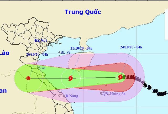 Vị trí và hướng di chuyển của bão số 8. (Ảnh: NCHMF).