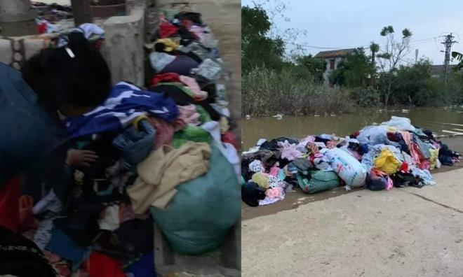 Tranh cãi hình ảnh quần áo từ thiện đổ đống, không ai thèm lấy. (Ảnh:Facebook)