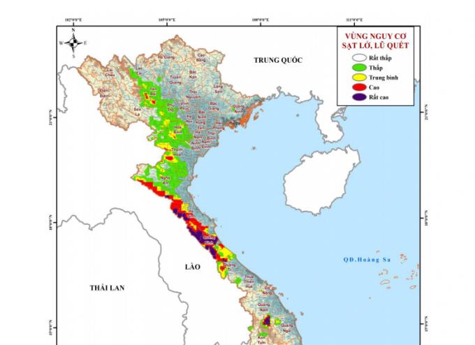 Bản đồ những tỉnh có nguy cơ cao do sạt lở đất trong những giờ tới.