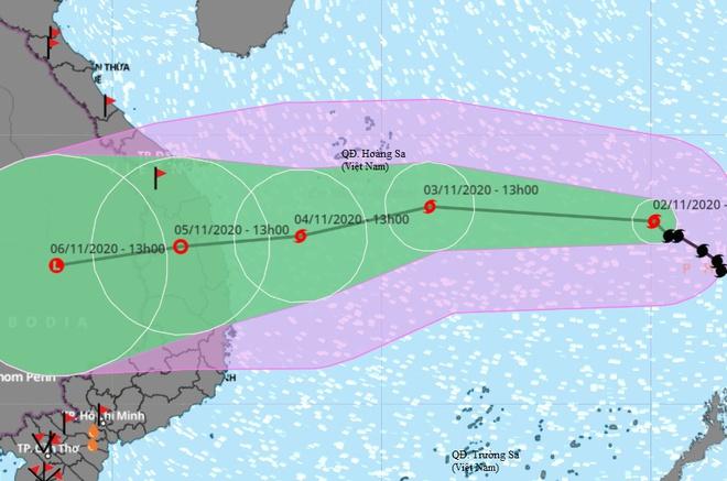 Dự báo đường đi của bão số 10 trên Biển Đông. Ảnh: VNDMS.