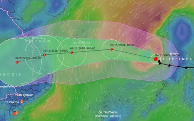 Dự báo đường đi của bão Goni trên Biển Đông. Ảnh: VNDMS.