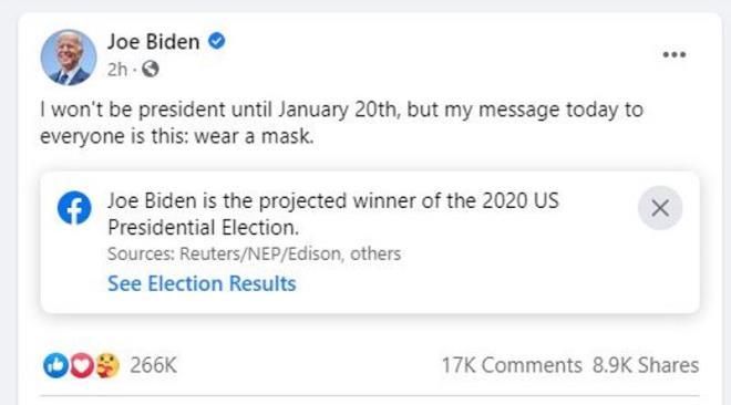 Bài đăng Facebook của ông Joe Biden. (Ảnh chụp màn hình)