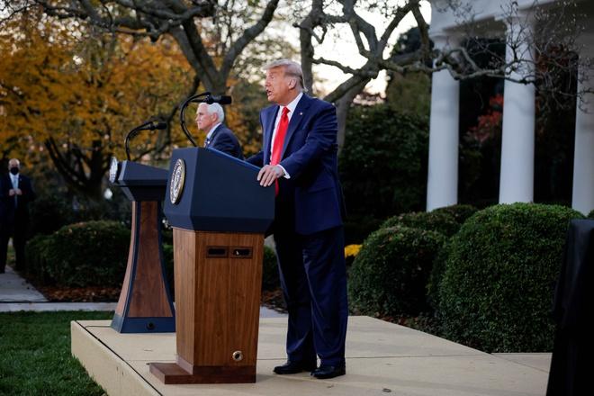 Ông Trump trong bài phát biểu hôm 13/11 ở Vườn Hồng của Nhà Trắng. Ảnh: Reuters.