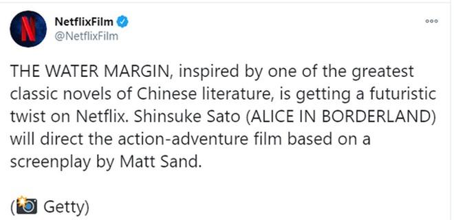 Netflix thông báo chuyển thể Thủy Hử với đạo diễn Shinsuke Sato và biên kịch Matt Sands.