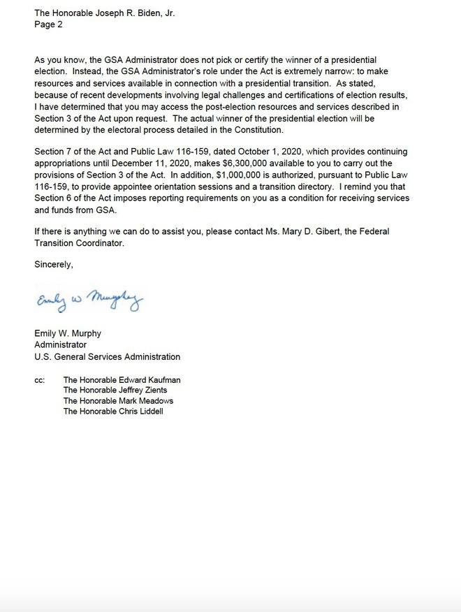 Lá thư của GSA gửi cho chính quyền ông Joe Biden.