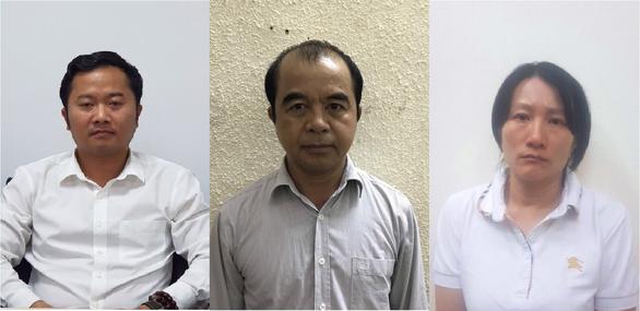 Các bị can Hòa, Quang, Thùy (từ trái qua).