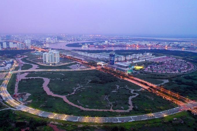 Một góc khu đô thị mới Thủ Thiêm nhìn từ trên cao vào tháng 11/2018. Ảnh: Hữu Khoa.