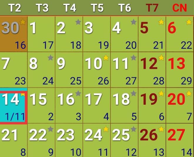 Theo lịch Việt Nam, hôm nay 14/12 Dương lịch là ngày 1/11 Âm lịch.